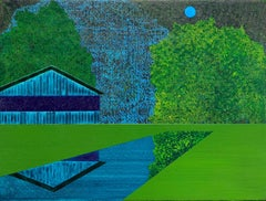 """Wishing an Ocean"" Contemporary Depiction of Architecture in Blues and Greens"