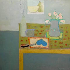 """""""Pears and Tulips"""" Still Life with Green Table, Neutral Background"""