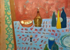 """""""Chianti and Galliano"""" Still Life in Pink and Light Blue"""