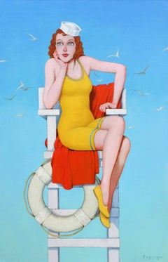 """""""Sand Castles"""" Woman in Vintage Lifeguard Chair Yellow Red with Blue Sky"""