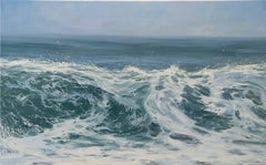 """""""Morning Breaker"""" Cresting Wave in Blues and Greens"""