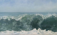 """""""Morning Crest"""" Cresting Wave and Sky in Blues and Greens"""
