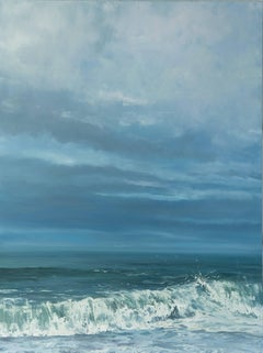 """""""Evening Sky"""" Crashing Wave with Big Sky in Blues and Green"""