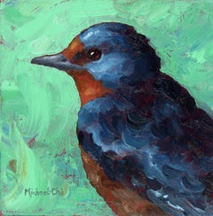 """""""The Blues"""" Oil painting of a blue bird on a green background"""
