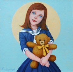 """""""Cuddle and Repeat"""" Girl and teddy bear with Light Blue and Yellow Background"""