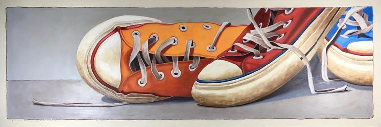 """Converse #3"" Oil painting of three converse sneakers in orange, red and blue"