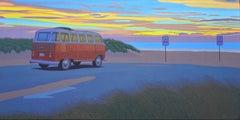Twilight Samba -Oil Painting of a Vintage VW Van on the Beach in the Sunset