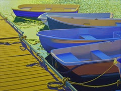Sextet -Oil Painting of Boats in the Sunset