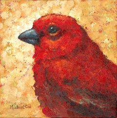 Moods -Oil Painting of a Red Bird on a Yellow Background