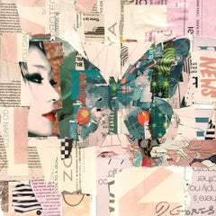 """""""Fly East"""" Collage of Green Butterfly"""