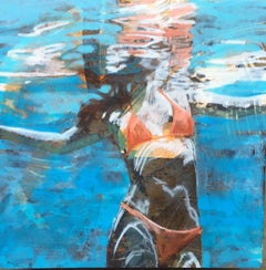 """Summer Sojourn 2"" Woman in Orange Bikini Swimming with Reflections on Water"
