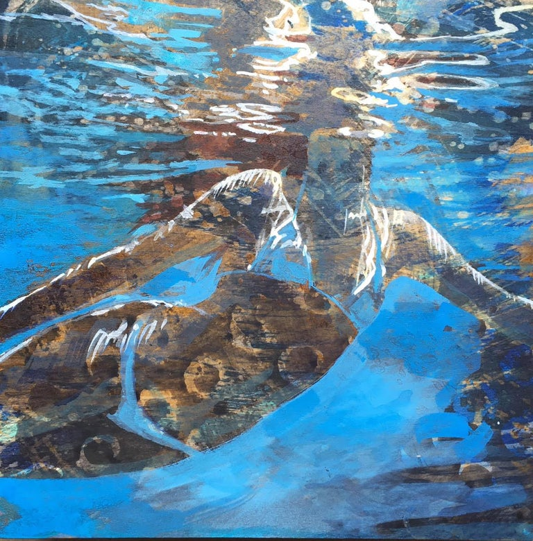 "Carol Bennett Figurative Painting - ""Summer Sojourn 4"" Woman in White Bikini Swimming & Reflection of Water"