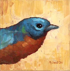 """The Brass"" Small Oil Painting of a Blue and Orange Bird"