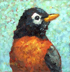"""Spring is in the Air"" Painting of an Orange and Black Bird on Blue Background"