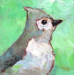 """Tuftie"" Small Oil Painting of a Grey Bird on Bright Green Background"
