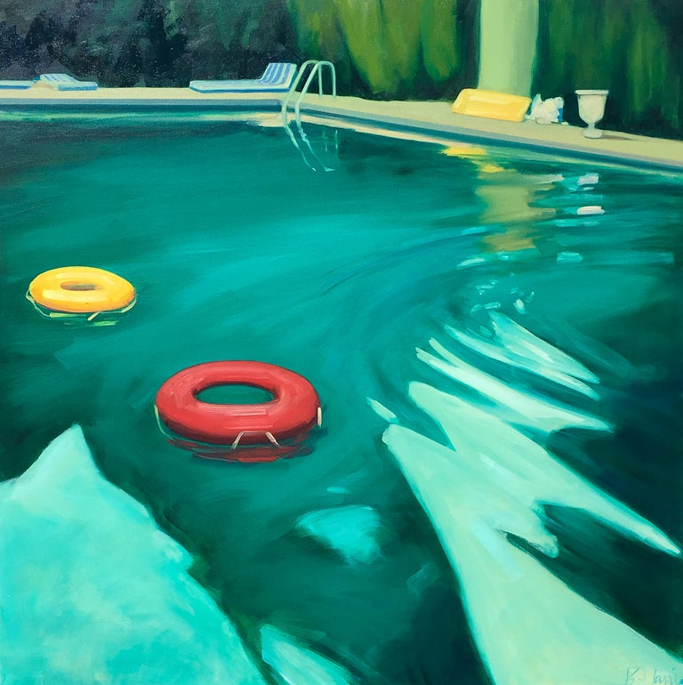 "T.S. Harris Still-Life Painting - ""Swimming Pool"" Dark Green Water in Evening Light with Orange and Red Pool Toys"