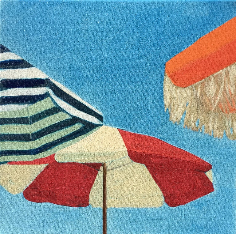 """""""Three Umbrellas"""" Brightly Colored Painting of Beach Umbrellas on a Sunny Day"""