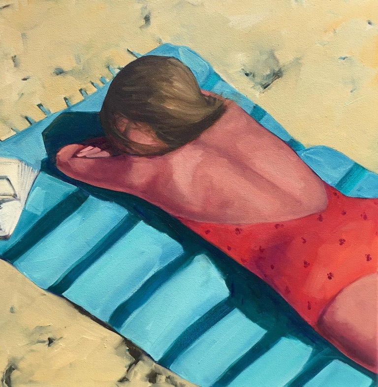 "T.S. Harris Figurative Painting - ""Beach Day"" Brightly Colored Painting of a Woman Relaxing on a Towel on the Sand"