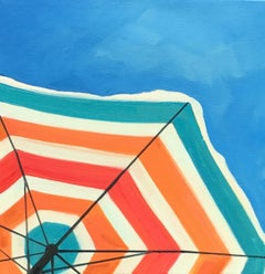 """Bright Umbrella"" Painting of a Striped Beach Umbrella in a Cloudless Sunny Sky"