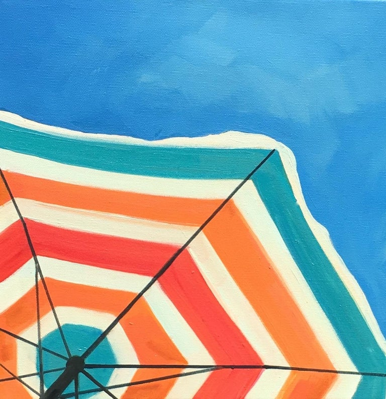 """T.S. Harris Still-Life Painting - """"Bright Umbrella"""" Painting of a Striped Beach Umbrella in a Cloudless Sunny Sky"""