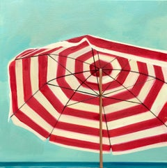 """Red and White Umbrella"" Striped Beach Umbrella with Bright Cloudless Summer Sky"