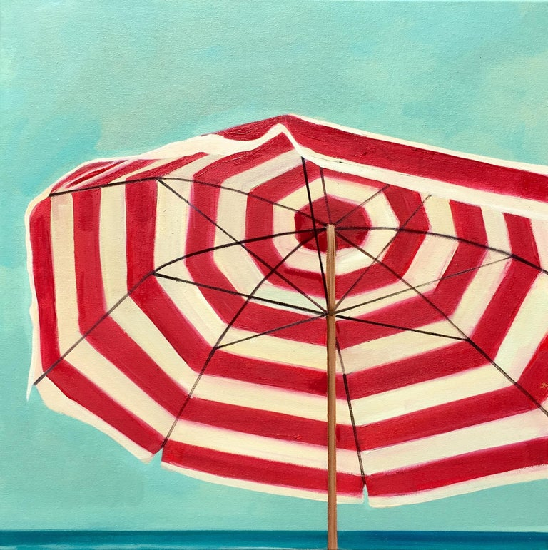 """T.S. Harris Still-Life Painting - """"Red and White Umbrella"""" Striped Beach Umbrella with Bright Cloudless Summer Sky"""