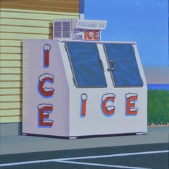 """Seaside Ice"" Detailed Painting of Ice Machine on a Hot Summer Shoreline"