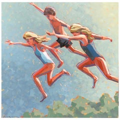 """""""Sun Drenched"""" Children Jumping into the Water on a Hot Summer Day"""