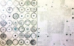 """""""Around and Around We Go"""" White and Green Abstract Encaustic Diptych Painting"""