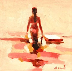 """Mythography #126"" Abstract painting of a woman wading in the water"