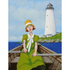 """Sunday's Beacon"" painting of a woman in a green dress rowing by a lighthouse"