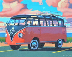 """Autumn Samba"" photo-realistic oil painting of a volkswagen bus with pink clouds"