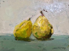 """The Duo"" painterly still life of two green pears leaning on each other"