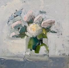 """Whites"" painterly still life of white roses in a vase"