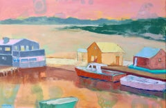 """Menemsha Galley"" contemporary oil painting of a harbor on Martha's Vineyard"