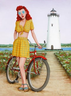 """Beautiful Beacon"" Woman With Yellow Shirt, Vintage Bike, Lighthouse, Purple Sky"