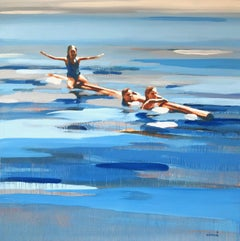 """Rabbit Lake"" Abstract oil painting of kids floating in blue water"