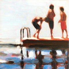 """Mythography #132"" Abstract oil painting of kids on a raft in the water"