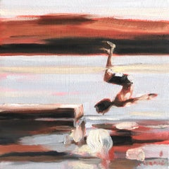 """Mythography #130"" Abstract oil painting of a boy jumping in the water"