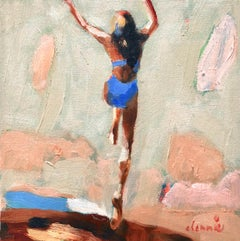 """Mythography #129"" Abstract oil painting of a woman jumping in the water"