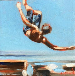 """Mythography #112"" Abstract oil painting of a boy jumping in the water"