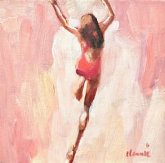 """Mythography #110"" Abstract oil painting of a woman jumping in the water"