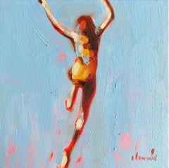 """Mythography #108"" Abstract oil painting of a woman jumping in the water"