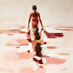 """Independence"" Abstract oil painting of a woman wading in the water"