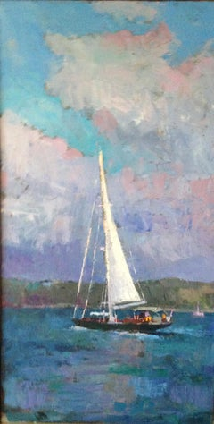 """""""Sailing"""" vertical oil painting of a sailboat on the water with clouds behind"""