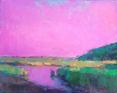 """""""Aurora Pink Marsh"""" oil painting of a bright pink sky over a green marsh"""