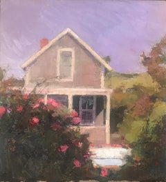 """Cottage and Roses"" oil painting of a cottage with pink rose bushes"