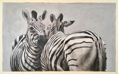 """""""Andante #101"""" black and white oil painting of two zebras nuzzling"""