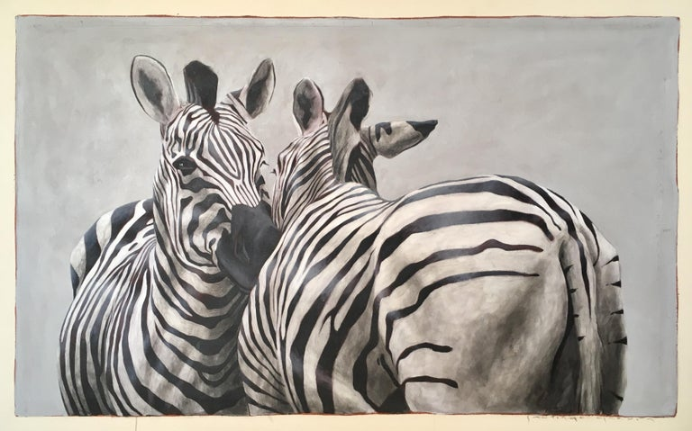 """Andante #101"" black and white oil painting of two zebras nuzzling"