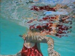 """""""Papillion"""" Oil painting of a Woman in a Red Bathing Suit Swimming Under Water"""